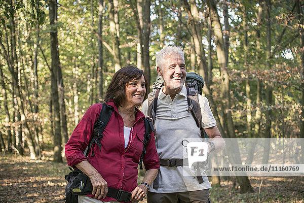 Seniorenpaar beim Wandern im Wald