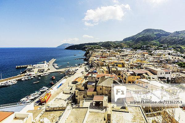 Italy  Sicily  Lipari  coastal town