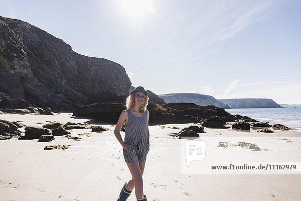 France  Crozon peninsula  teenage girl walking on the beach