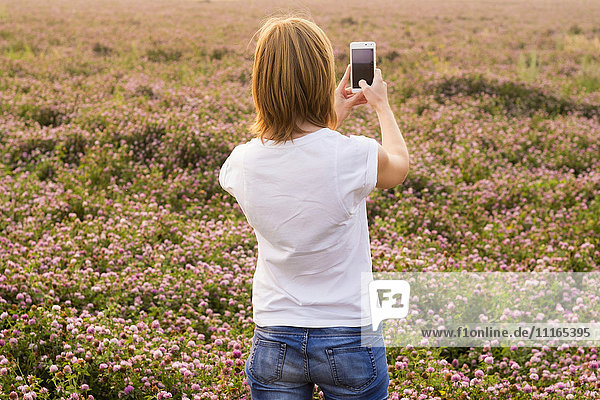 Caucasian woman photographing field of flowers with cell phone