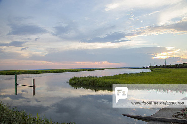 Reflection of clouds in river  Tybee  Georgia  United States
