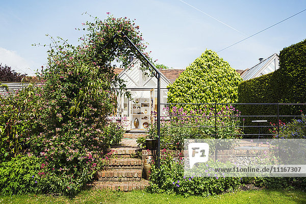 A garden pergola with climbing plants  and a historic house in a village.