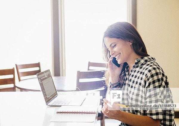 Frau mit langen braunen Haaren  trägt ein kariertes Hemd  arbeitet an einem Laptop-Computer  telefoniert.