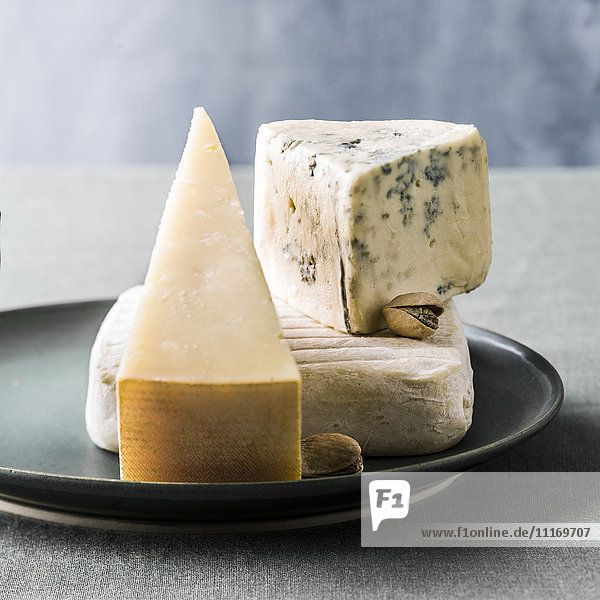 Variety of cheeses on plate