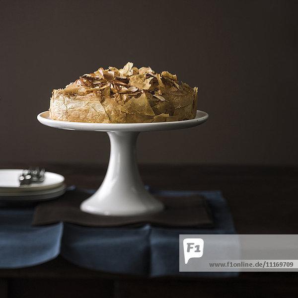 Flaky cake on tray