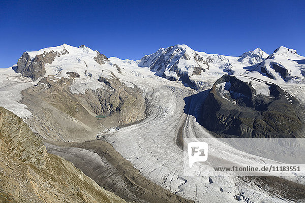 Switzerland  Valais  Zermatt  Gornergrat mountain  Monte Rosa and Glaciers