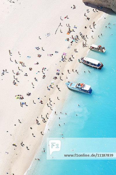 Aerial view of beach in summer with people. Zakynthos  Greek Islands  Greece