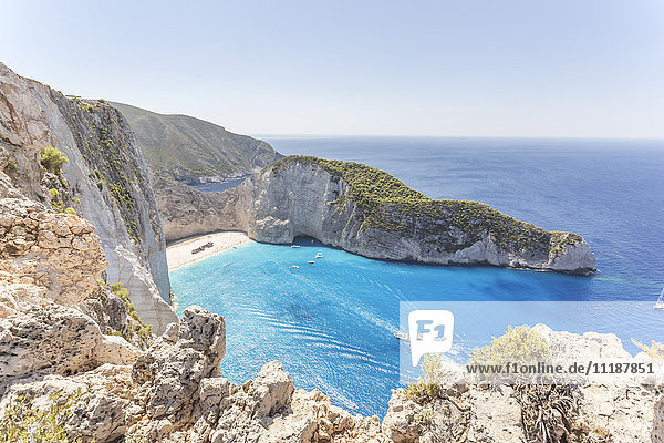 Elevated view of famous shipwreck beach. Zakynthos  Greek Islands  Greece