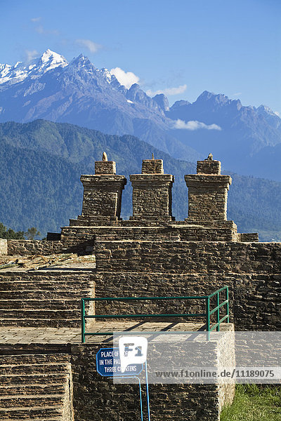 India  Sikkim  Pelling  Rabdentse Ruins  Ancient capital of Sikkim  Place of Worship  Three Chortens
