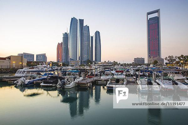 United Arab Emirates  Abu Dhabi  View of Marina and Etihad Towers