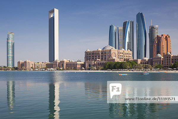 UAE  Abu Dhabi  skyline  Nations Towers  ADNOC Tower  Etihad Towers and Emirates Palace Hotel