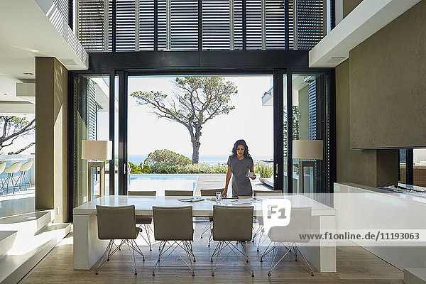 Businesswoman working at dining table in home showcase interior