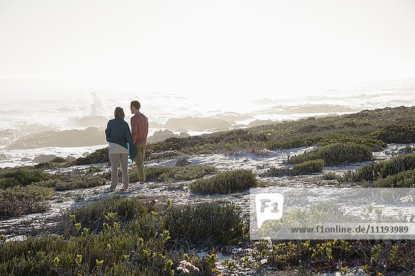 Happy couple looking at sea on the beach