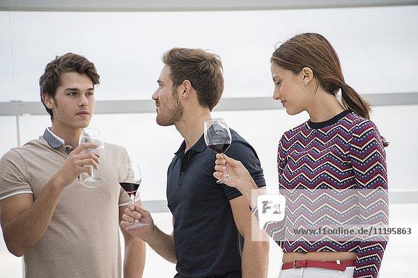 Freunde genießen Rotwein auf der Party