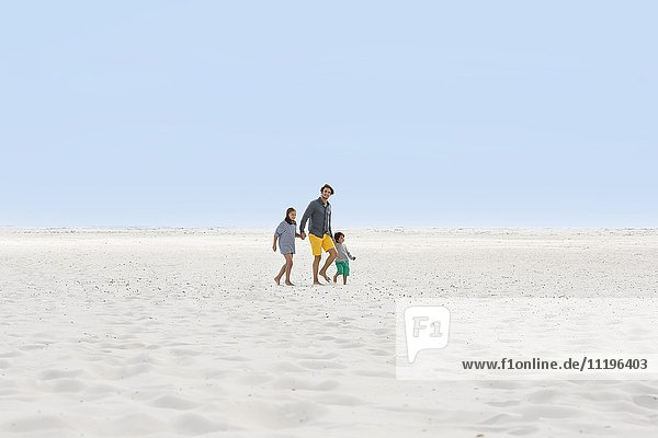 Man with his children walking on the beach