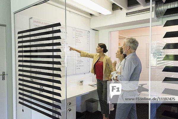 Geschäftsfrau bei der Präsentation vor ihren Kollegen im Büro