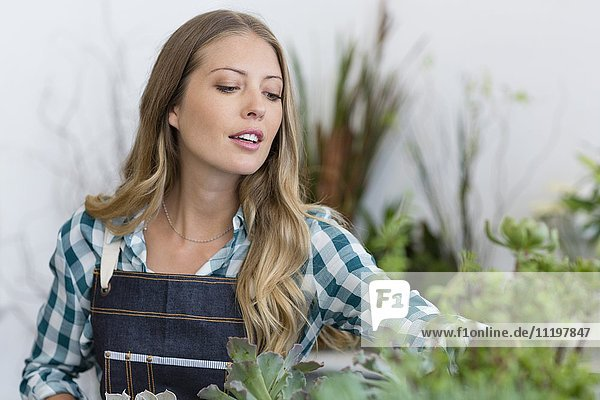 Close-up of a woman arranging plants