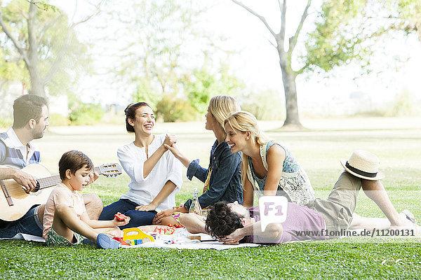 Freunde  die einen unbeschwerten Moment beim Picknick im Park haben.