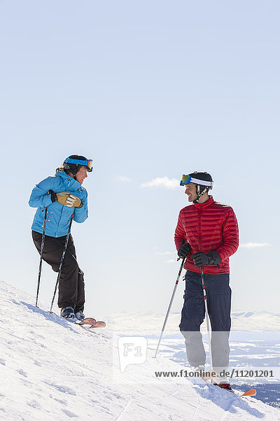 Couple skiing