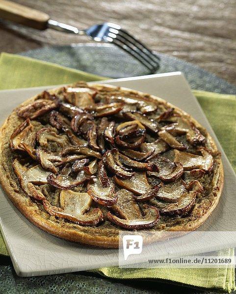 Cep and eggplant caviiar thin tart