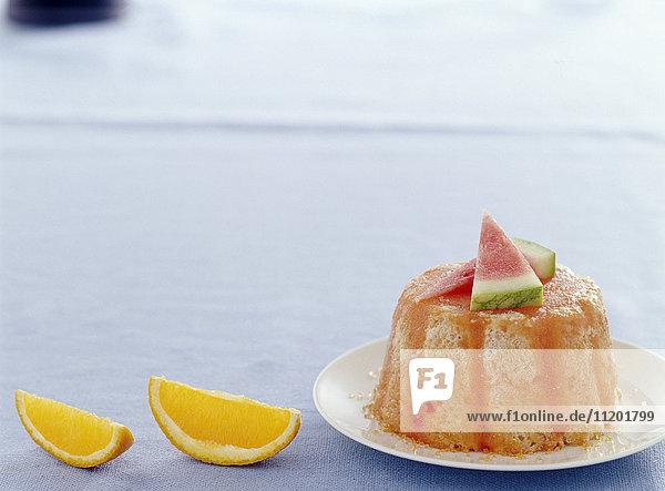 Melon watermelon and orange charlotte Melon,watermelon and orange charlotte