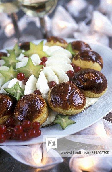 Saint-Honoré profiteroles with exotic fruit