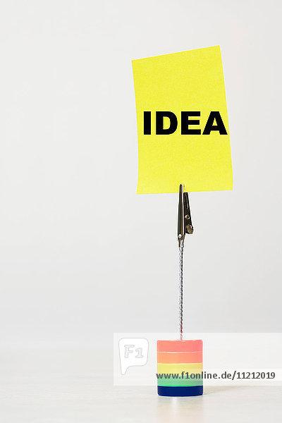 Reminder note saying idea
