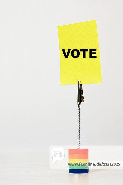 Reminder note saying vote