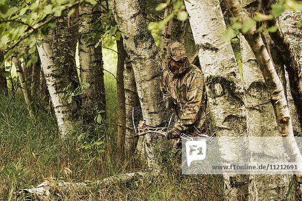 Hunter In Camo With Shotgun