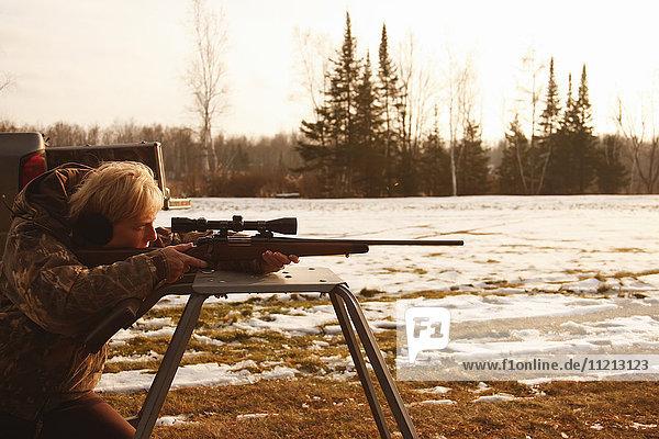 Sighting In Deer Rifle In Preparation For Deer Hunt