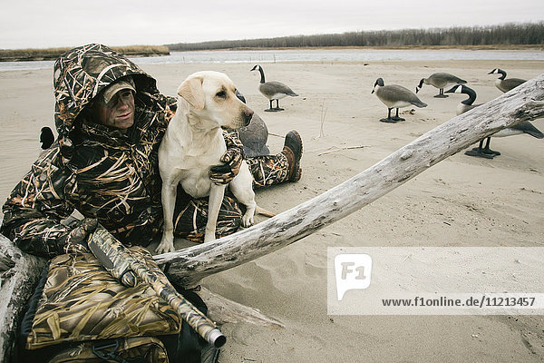 Waterfowl Hunter Hunting With Yellow Lab