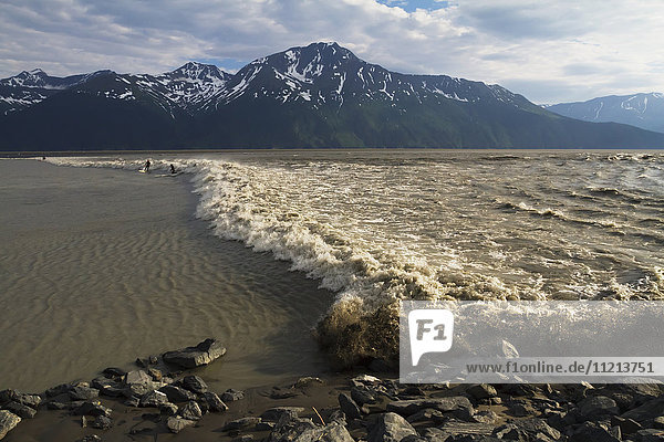 A few surfers ride a large bore tide in Turnagain Arm in Summer. Southcentral Alaska. Mile 94 Seward Highway.