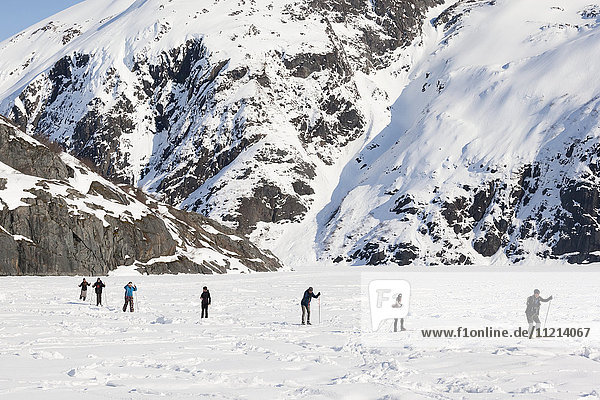 Cross Country Skiers at Portage Glacier. Southcentral Alaska. Winter.