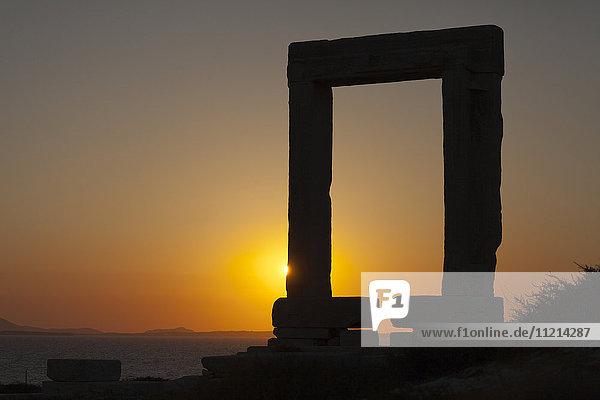 'Sun setting at Apollo Temple; Naxos  Greece'