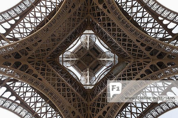 'Upwards view of Eiffel Tower; Paris  France'