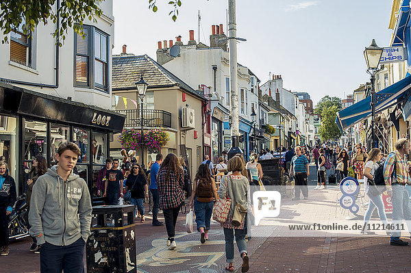 'Independent shops and cafes around North Lane; Brighton  England'