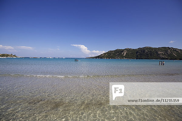View of crystal clear water of Golfe De Santa Guila beach   Corsica