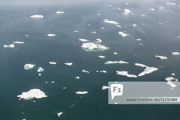 'Aerial detail view of icebergs floating in the Arctic Ocean off the North Slope; Alaska  United States of America'