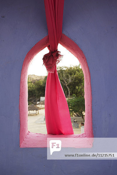 Colourful traditional Rajasthani window detail with cloth
