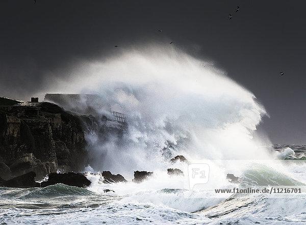 'Wave crashing into shore and splashing onto the land above the cliffs  Isla de la Palomas; Tarifa  Cadiz  Andalusia  Spain'
