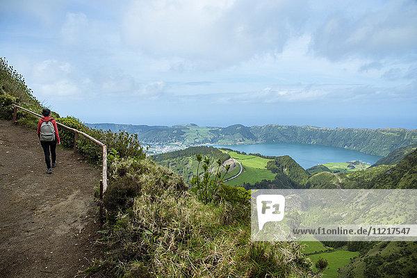'Panoramic view of Sete Cidades; Ponta Delgada  Sao Miguel  Azores  Portugal'
