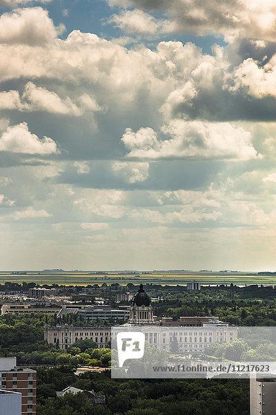 'Buildings in the city and farmland in the distance; Regina  Saskatchewan  Canada'
