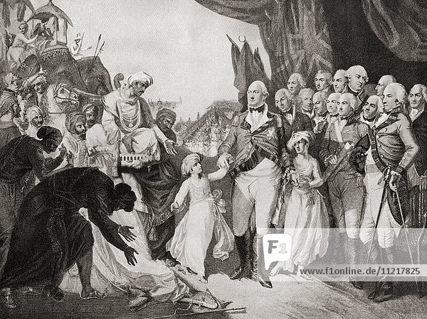Lord Cornwallis receiving the sons of Tipu Sahib as hostages in 1792. Charles Cornwallis  1st Marquess Cornwallis  1738 – 1805  aka Viscount Brome and The Earl Cornwallis. British Army officer  colonial administrator  Governor General of India. From Hutchinson's History of the Nations  published 1915.