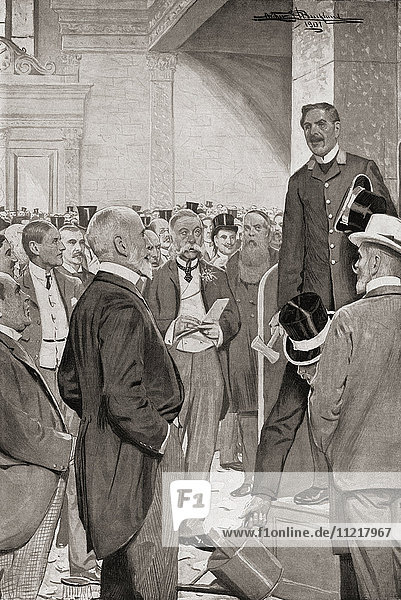 Hammering a member of the London stock market. A process by which a member of the London Stock Exchange who is unable to meet his liabilities is publicly declared a defaulter. It is so called from the fact that before the announcement is made  a hammer is used to attract the attention of the members present. From Living London  published c.1901