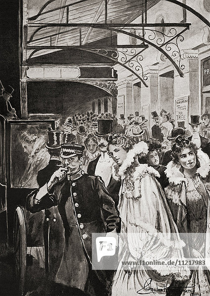 Theatre goers leaving Her Majesty's Theatre  Haymarket  London  England in the late 19th century. From Living London  published c.1901