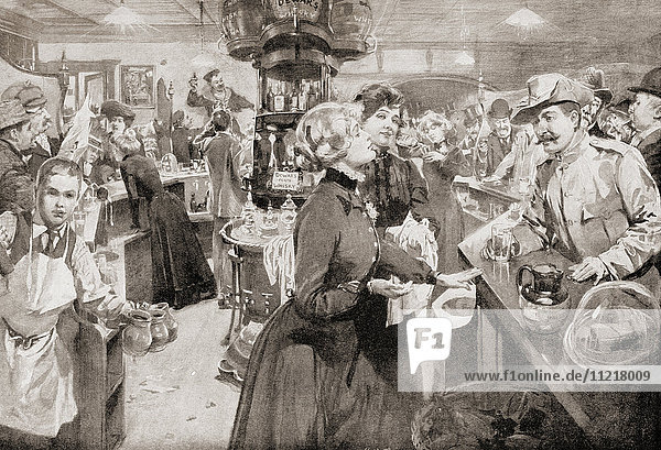 Inside a public house on a Saturday night  London  England c. 1901. From Living London  published c.1901