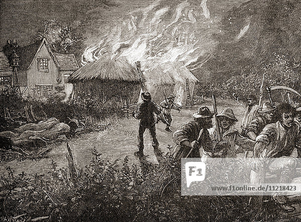 A mob in Kent  England burning a hayrick on a farm during The Swing Riots of 1830. From The Century Edition of Cassell's History of England  published c. 1900