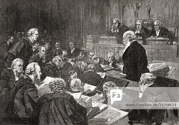 The cross examination of Richard Pigott  the Irish journalist  during the Parnell Commission  a judicial inquiry in the late 1880s into allegations of crimes by Irish parliamentarian Charles Stewart Parnell. From The Century Edition of Cassell's History of England  published c. 1900