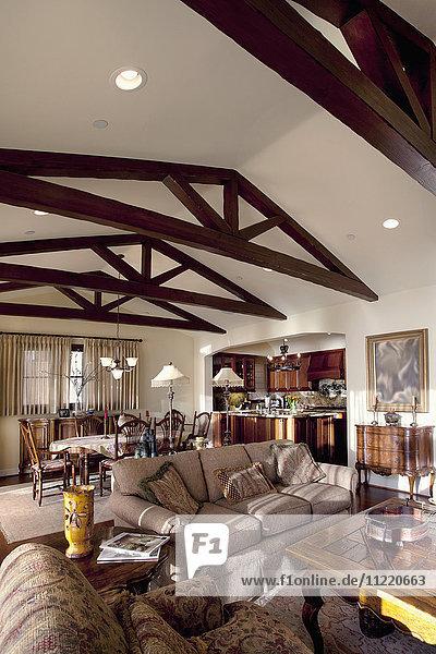 Wooden ceiling beams in great room  Laguna Beach  California  USA