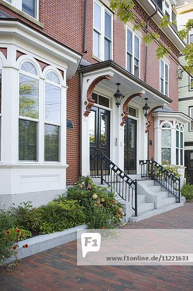 Traditional brick apartment building